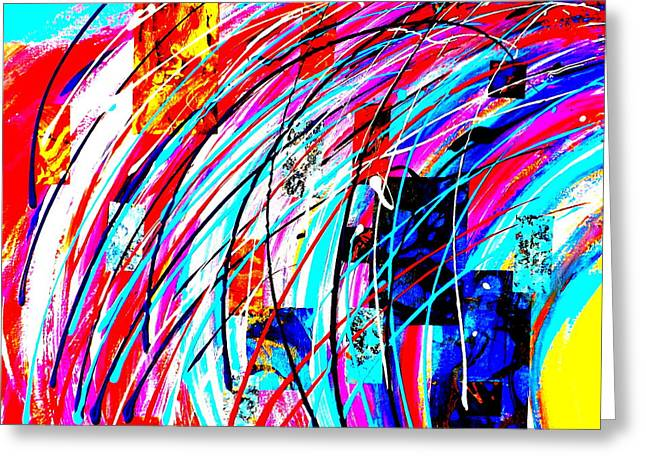Pop Mixed Media Greeting Cards - Fluid Motion POP ART Greeting Card by Darren Robinson