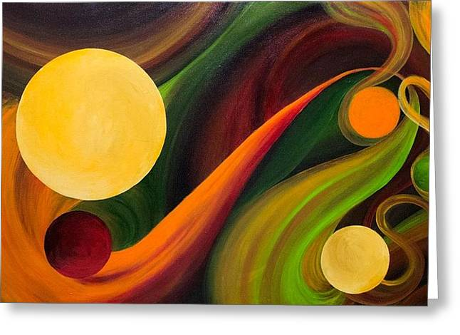 Planet Paintings Greeting Cards - Fluidic Lucidity Greeting Card by Laura Swink