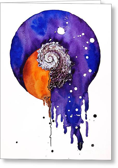 Helix Drawings Greeting Cards - Fluidity 16 - Mollusc Shell - Elena Yakubovich Greeting Card by Elena Yakubovich