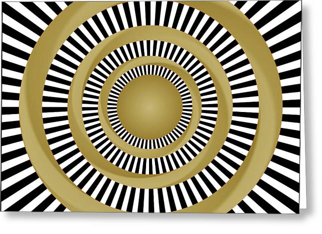 Geometric Effect Mixed Media Greeting Cards - Golden Fluids Greeting Card by Gianni Sarcone