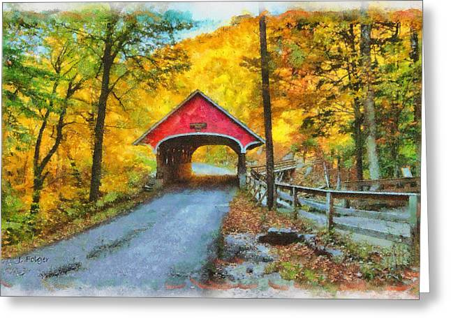 Photos Of Autumn Digital Greeting Cards - Flume Gorge covered bridge against golden color Greeting Card by Jeff Folger