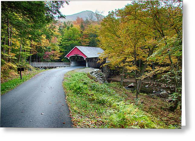 Photos Of Autumn Digital Greeting Cards - Flume Gorge covered bridge Greeting Card by Jeff Folger