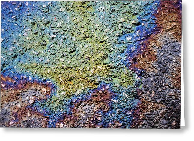 Oil Slick Greeting Cards - Fluorescent Pavement 3 Greeting Card by Rob Huntley