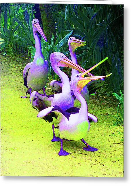 Saheed Greeting Cards - Fluorescent Pelicans Greeting Card by Margaret Saheed
