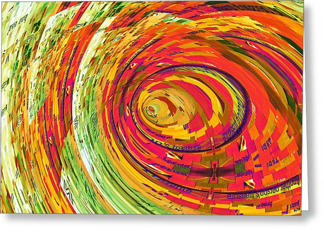Watermelon Mixed Media Greeting Cards - Fluorescent Wormhole Greeting Card by Shawna  Rowe