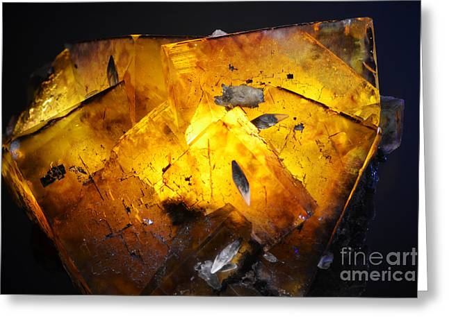 Crystals Greeting Cards - Fluorite Crystal Macro Backlit Greeting Card by Shawn O