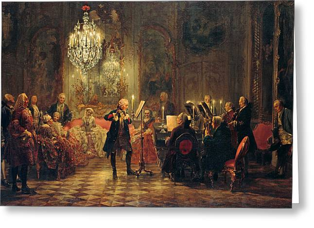 Menzel Greeting Cards - Flute Concert with Frederick the Great in Sanssouci Greeting Card by Adolph von Menzel