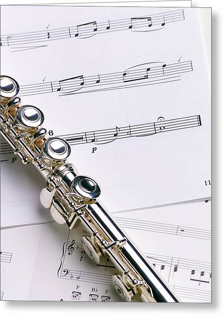 Flutes Greeting Cards - Flute on Music Greeting Card by Jon Neidert