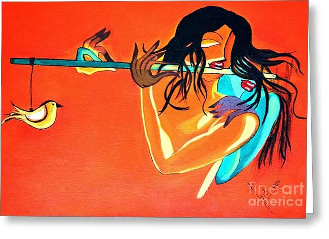 Flute Greeting Card by Jyoti Vats