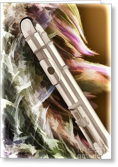 Flute Greeting Cards - Flute Music Instrument Painting in Color  3399.02 Greeting Card by M K  Miller