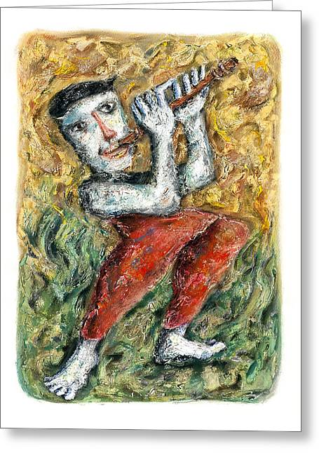 Characters Pastels Greeting Cards - Flute Player Greeting Card by Nalidsa Sukprasert