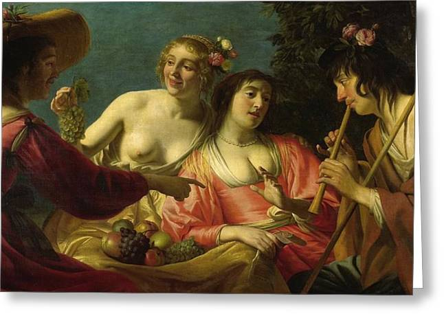 Dutch Shepherd Greeting Cards - Flute playing shepherd and four nymphs Greeting Card by Gerard van Honthorst