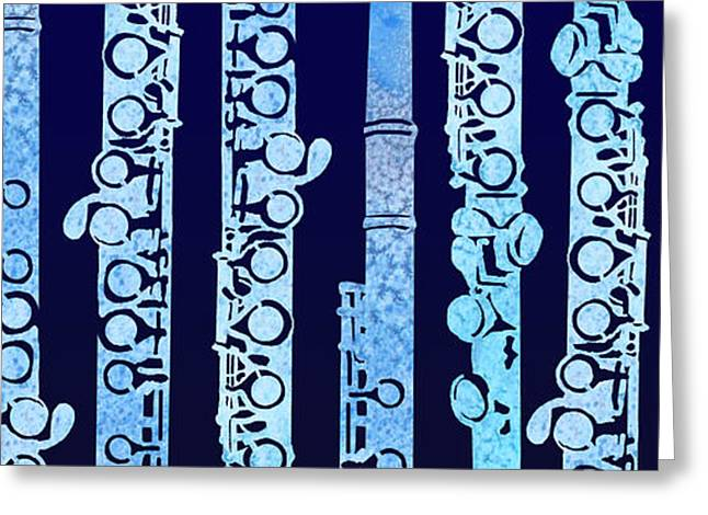 Flutes In Blue Greeting Card by Jenny Armitage