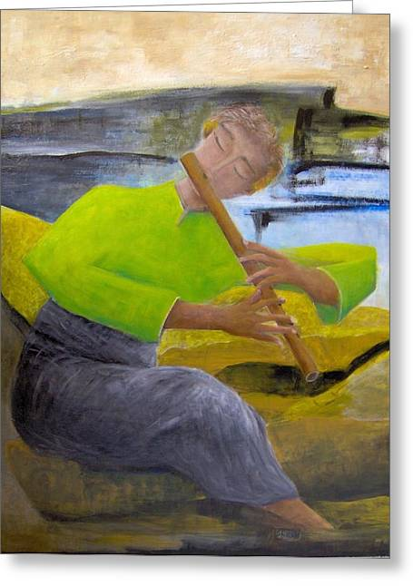Shesh Tantry Greeting Cards - Flutist Greeting Card by Shesh Tantry