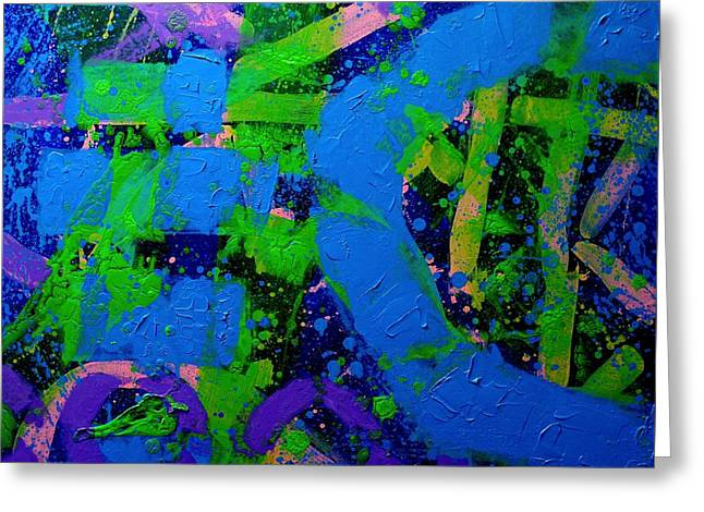 Tropical Mixed Media Greeting Cards - Flux Greeting Card by John  Nolan