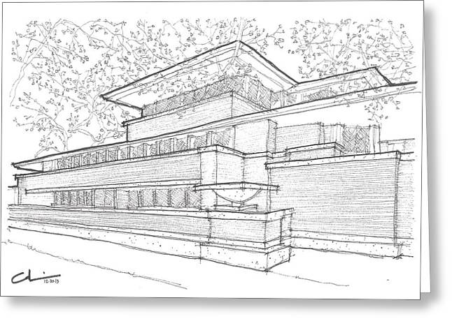 Frederick Drawings Greeting Cards - FLW Robie House Greeting Card by Calvin Durham