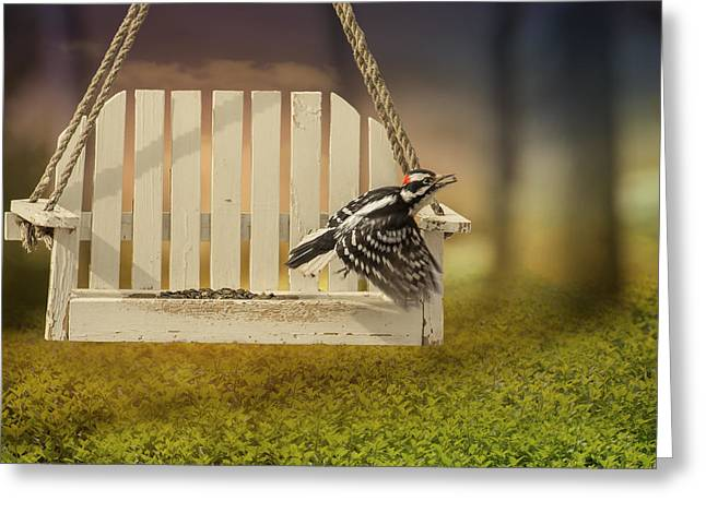 In Mouth Greeting Cards - Fly Away Downy Greeting Card by Bill Tiepelman