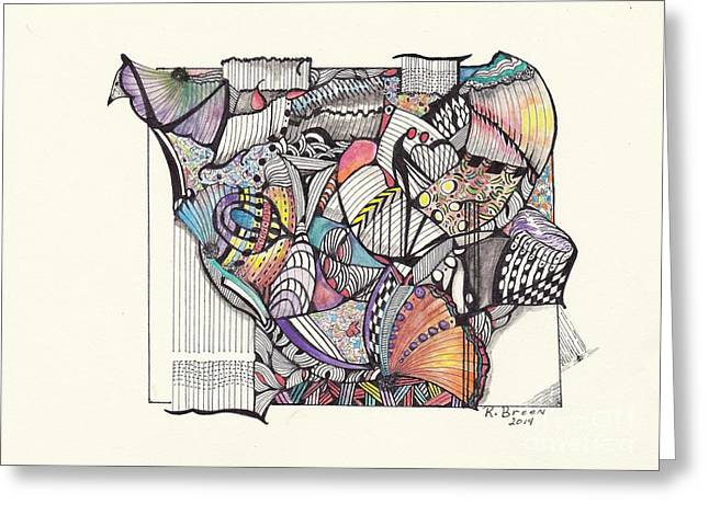 Organic Drawings Greeting Cards - Fly Away Greeting Card by Ronda Breen