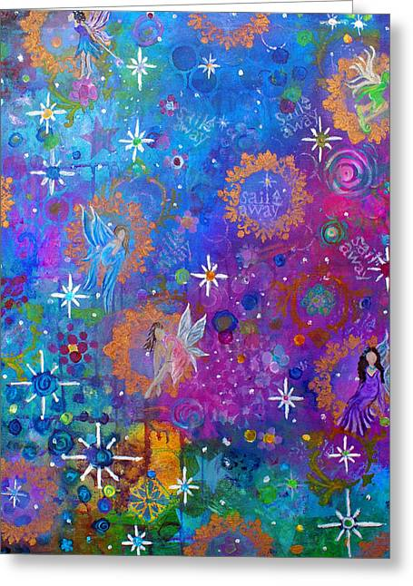 Charlotte Paintings Greeting Cards - Fly Away to Fairy Day Greeting Card by The Art With A Heart By Charlotte Phillips