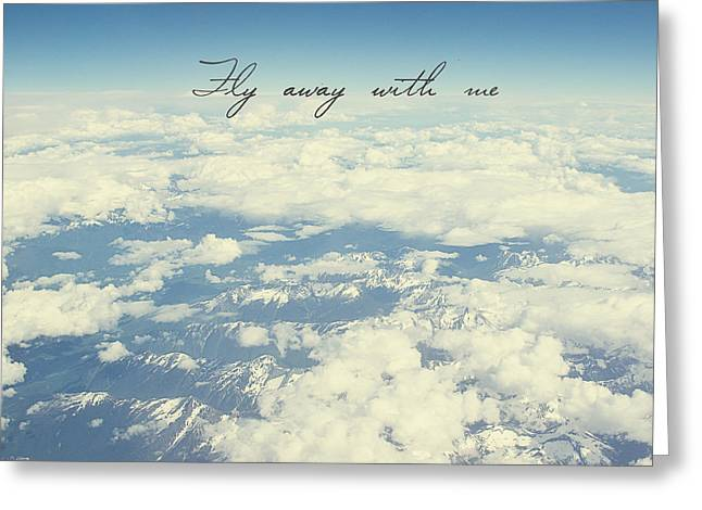 Mountains With Snow Greeting Cards - Fly away with me Greeting Card by Ivy Ho