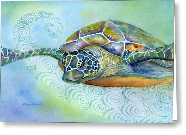 Green Sea Turtle Paintings Greeting Cards - Fly By Greeting Card by Amy Kirkpatrick