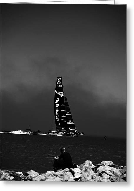 Americas Cup Greeting Cards - Fly Emirates Greeting Card by David Bearden