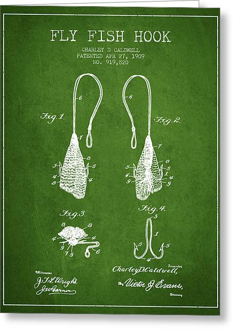 Fish Digital Art Greeting Cards - Fly Fish Hook Patent from 1909- Green Greeting Card by Aged Pixel