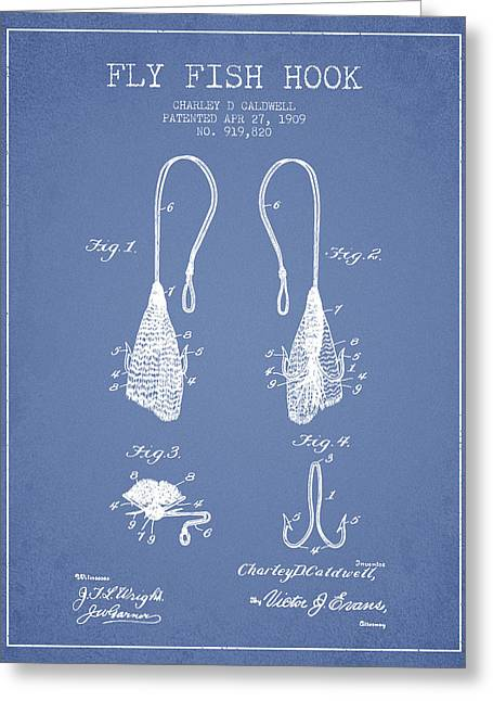 Fish Digital Art Greeting Cards - Fly Fish Hook Patent from 1909- Light Blue Greeting Card by Aged Pixel