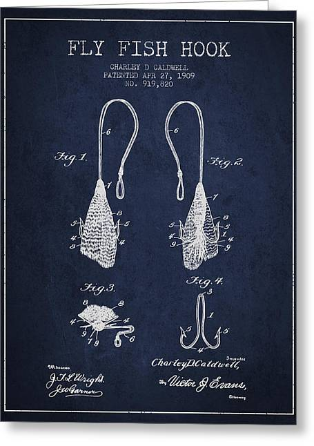 Fish Digital Art Greeting Cards - Fly Fish Hook Patent from 1909- Navy Blue Greeting Card by Aged Pixel