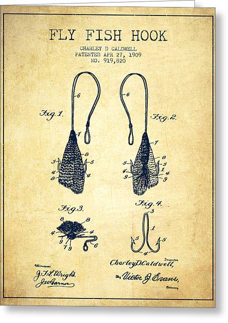 Fish Digital Art Greeting Cards - Fly Fish Hook Patent from 1909- Vintage Greeting Card by Aged Pixel