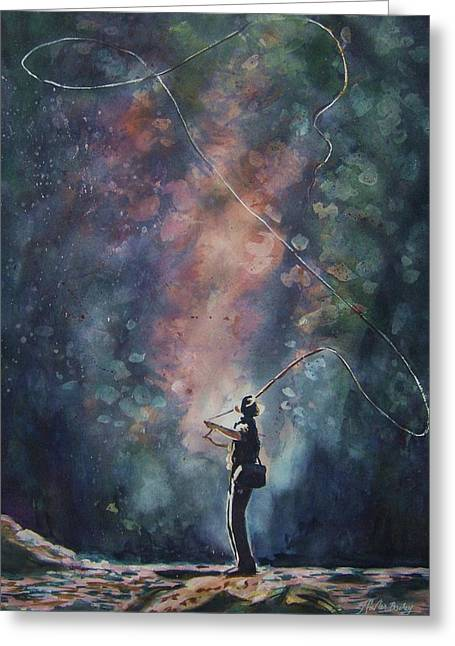 Therese Fowler-bailey Greeting Cards - Fly Fisherman Blues Greeting Card by Therese Fowler-Bailey