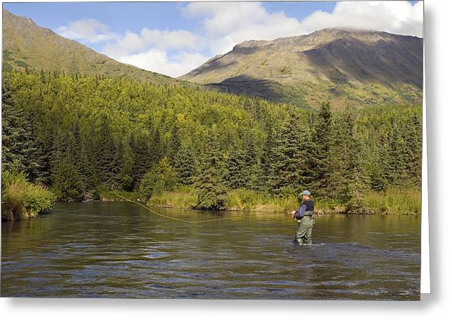 Fishing Creek Greeting Cards - Fly Fisherman Casting For Dolly Varden Greeting Card by Greg Martin