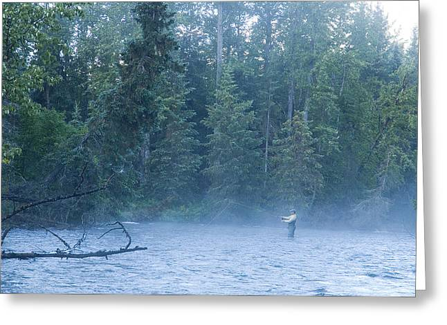 Fishing Creek Greeting Cards - Fly Fisherman Fights Dolly Varden On Greeting Card by Greg Martin