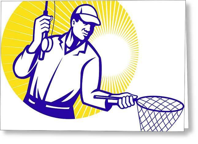 Fly Fisherman Fishing Net Retro Woodcut Greeting Card by Aloysius Patrimonio