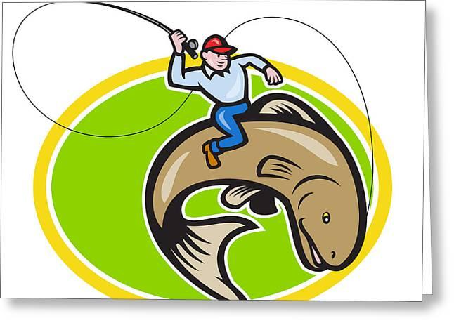Fly Fisherman Riding Trout Fish Cartoon Greeting Card by Aloysius Patrimonio