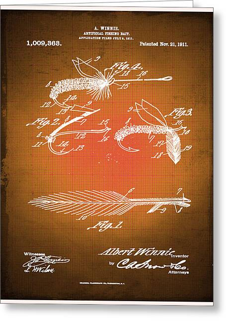 Fly Fishing Bait Patent Blueprint Drawing Sepia Greeting Card by Tony Rubino