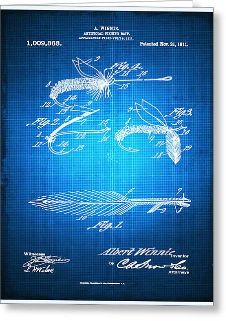 Fly Fishing Print Greeting Cards - Fly Fishing Bait Patent Blueprint Drawing Greeting Card by Tony Rubino