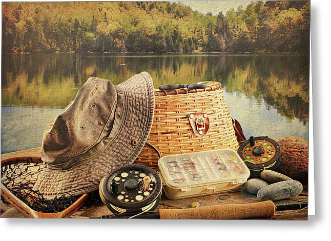 Barbs Greeting Cards - Fly fishing equipment  with vintage look Greeting Card by Sandra Cunningham