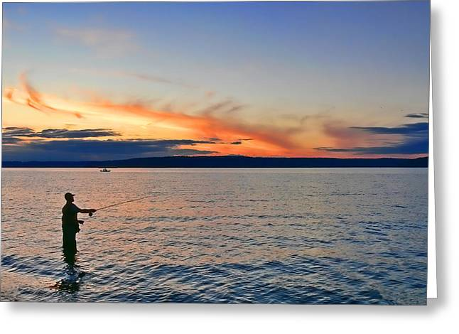 Flyfish Greeting Cards - Fly Fishing  Fisherman on Puget Sound Washington Greeting Card by Jennie Marie Schell