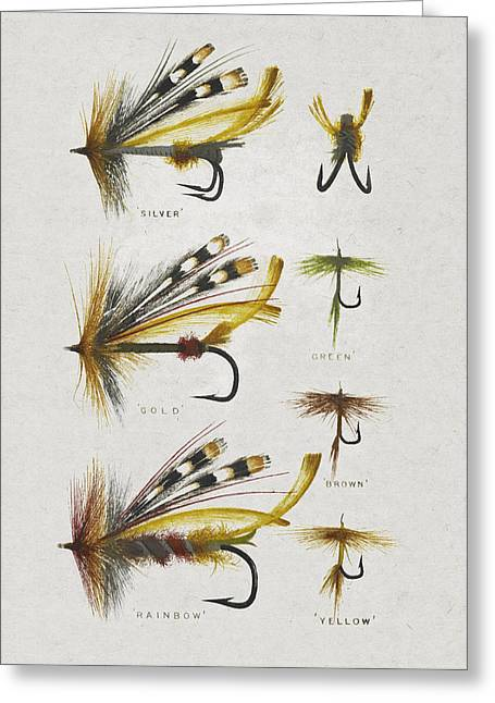 Fly Greeting Cards - Fly Fishing Flies Greeting Card by Aged Pixel