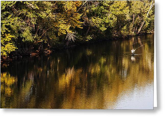 Reflections Of Trees In River Photographs Greeting Cards - Fly fishing in Boise River Boise Idaho Greeting Card by Vishwanath Bhat
