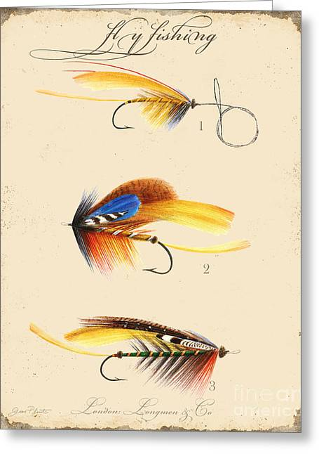 Cabin Wall Greeting Cards - Fly Fishing-JP2094 Greeting Card by Jean Plout