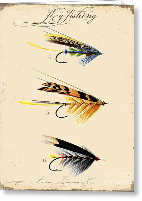 Cabin Wall Greeting Cards - Fly Fishing-JP2095 Greeting Card by Jean Plout