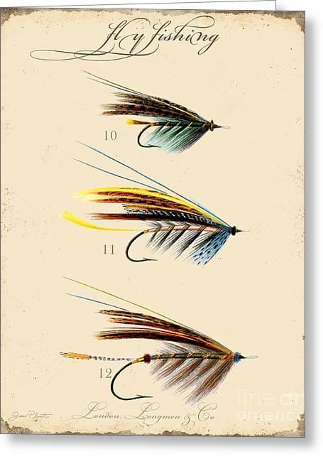 Cabin Wall Greeting Cards - Fly Fishing-JP2097 Greeting Card by Jean Plout