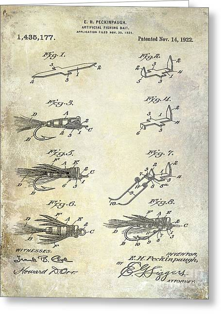 Fly Photographs Greeting Cards - 1922 Fly Fishing Lure Patent Drawing Greeting Card by Jon Neidert
