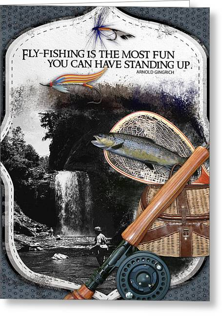 Trout Streams Greeting Cards - Fly Fishing Most Fun Greeting Card by Retro Images Archive