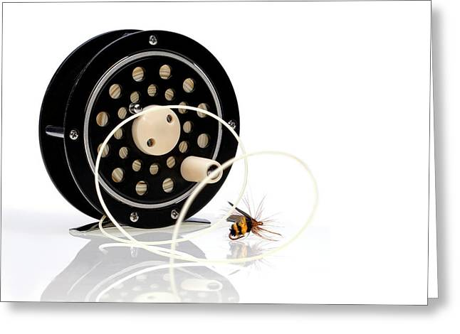 Bumblebee Greeting Cards - Fly Fishing Reel with Fly Greeting Card by Tom Mc Nemar
