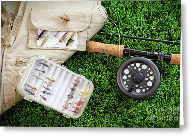 Fly fishing rod and asessories Greeting Card by Sandra Cunningham
