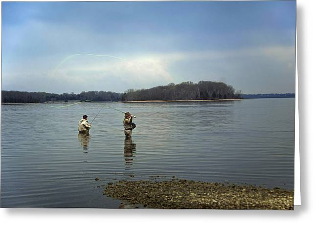 Buy Photos Online Greeting Cards - Fly Fishing Greeting Card by Steven  Michael