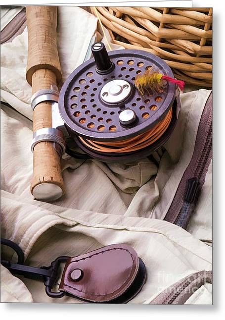 Fly Fishing Still Life Greeting Card by Edward Fielding